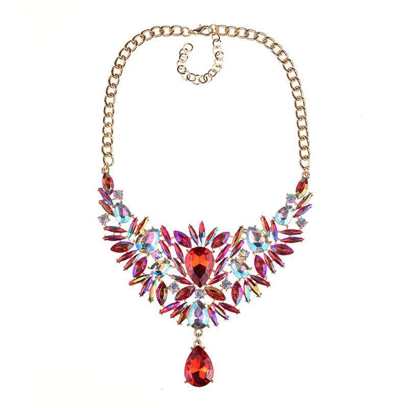 Multicolor Lujoso Rhinestone Maxi Cuelga Colgante Marquesa Crystal Stone Cuello Chokers Collares Para Mujeres Party