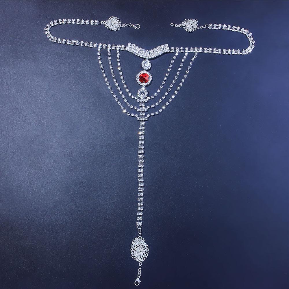Sexy corpo corpo lingerie vermelho cristal tanga calcinha jóias para mulheres cor de prata strass cintura barriga corpo corpo jóias presente