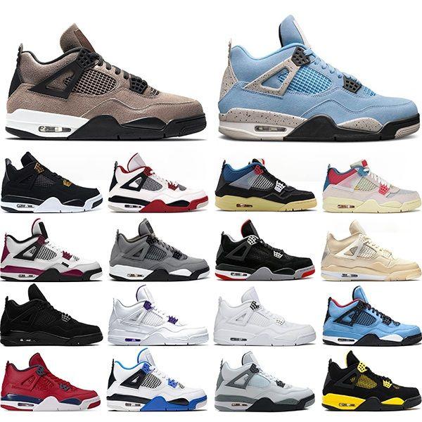 Nike air jordan 4 Erkekler basketbol ayakkabıları 4s Üniversite Mavi Taupe Haze Ateş Kırmızı Guava Buz Kara Kedi OG Erkek eğitmenler spor ayakkabı Bred