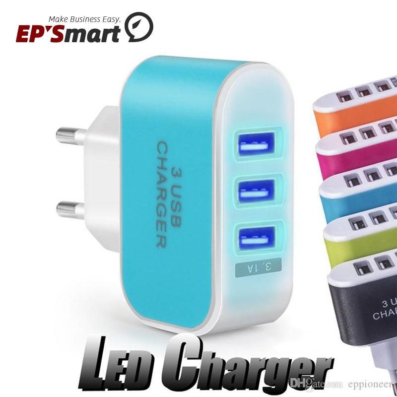 US EU Plug 3 USB Wall Chargers 5V 3.1A LED Adapter Travel Convenient Power Adaptor with triple Ports For Samsung Galaxy S21 Note20 Ultra A52 Mobile Phone Charger