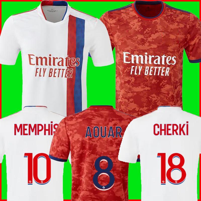 Olympique Lyonnais Lyon Futbol Forması 21 22 Maillot De Foot 2021 2022 Maillots De Futbol Gömlek Traore Memphis OL Erkekler + Çocuk Kiti Üniformaları