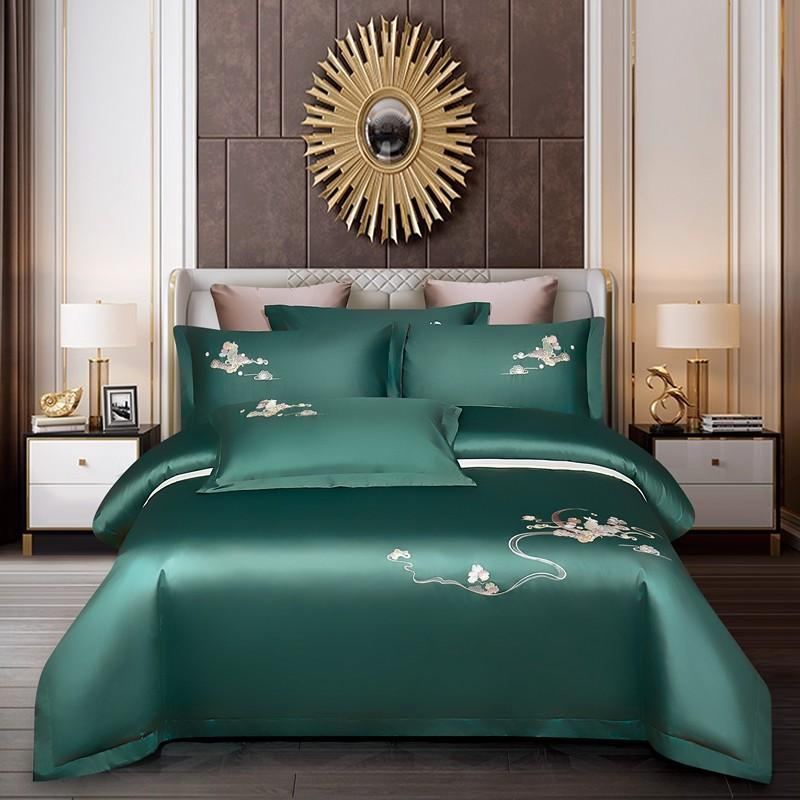 Chinoiserie Vintage Embroidery Duvet Cover Set Long Staple Cotton Dark Green Soft Bedding Bed Sheet Pillowcases Queen King Sets