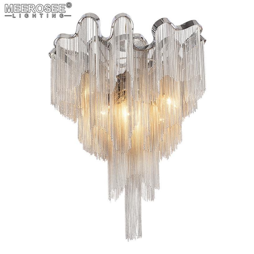 Modern Kolye Asılı Lambalar Fikstürü Gümüş Fransız Zincir Avizeler Aydınlatma Armatür Süspansiyonu Alüminyum Zincir Işık Restoran Otel