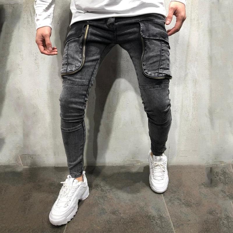 사이드 포켓 바지가있는 망 청바지 슬림 맞는 패션 인과 지퍼 파쇄 된 긴 바지 Kot Pantolon Erkekler # Y2 남자