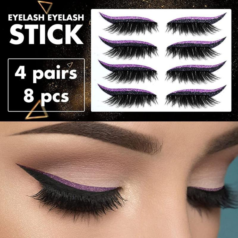 4 Pair Reusable False Lashes Eyeliner And Eyelash Stickers 7 Color Waterproof Eyeliner Eyelash Stickers Easy To Use And Remove