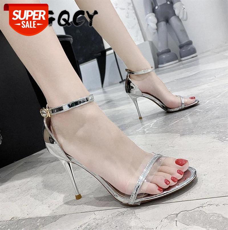Overheight with Laser High Heels New Summer Shoes Woman Fashion Buckle Strap Thin Heel Casual Sandals Open Toe Sexy Hollow #Ns70