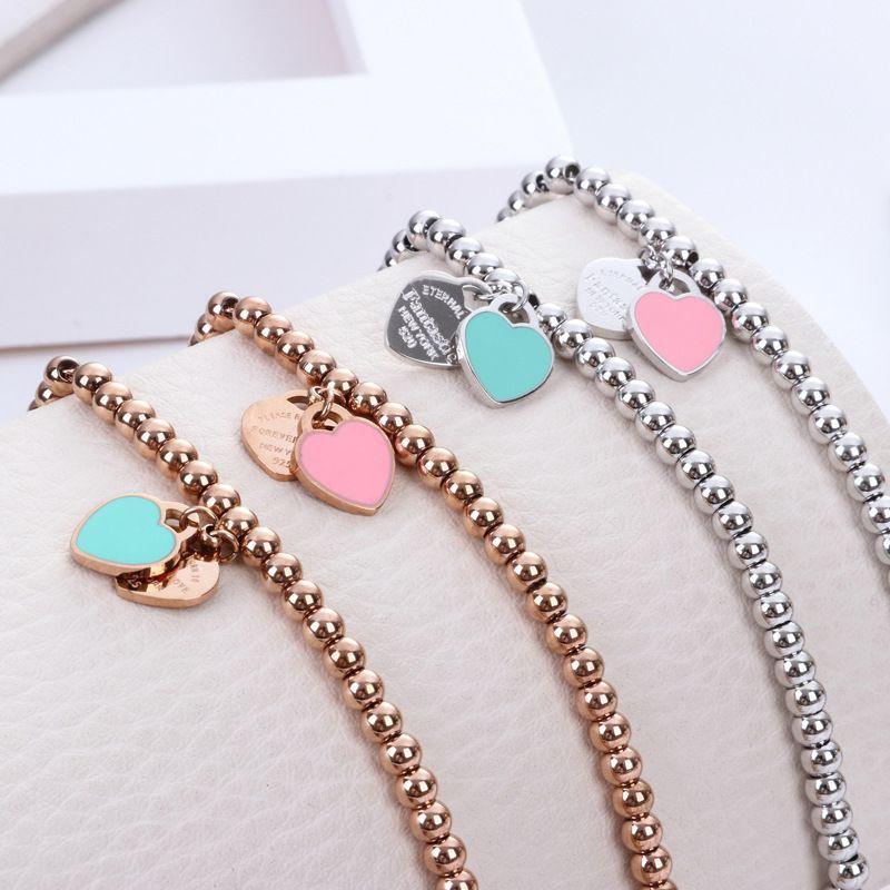 Mode T Schmuck Frauen Edelstahl Perlen Armband Für immer Liebe Emaille Rosa Blau Herz Charms Pulsera Armbänder
