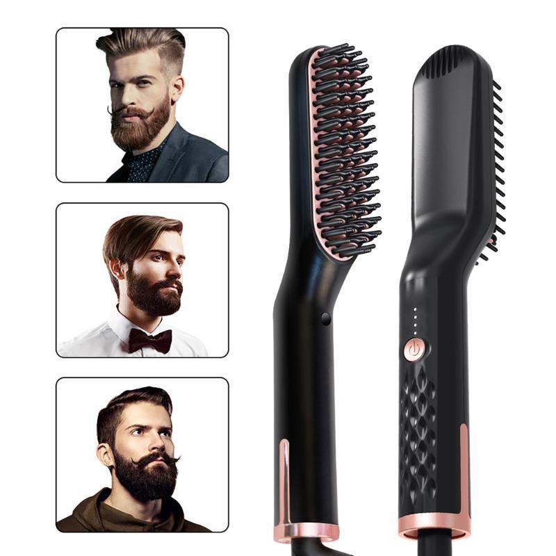 في 1 الرجال اللحية مستقيم متعددة الوظائف مشط الشعر فرشاة استقامة كهربائية الحديد مصغرة النساء تصفيف الشعر
