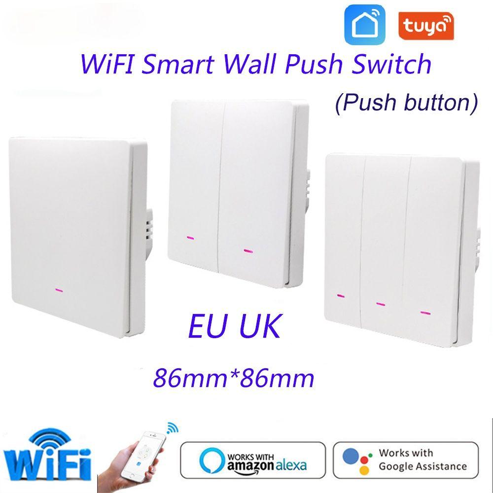 TUYA 1/2/3 Gang Smart Switch WiFi Bouton Push Button Mur de mur Commutateurs UE UK Wireless Alexa Home Assistant