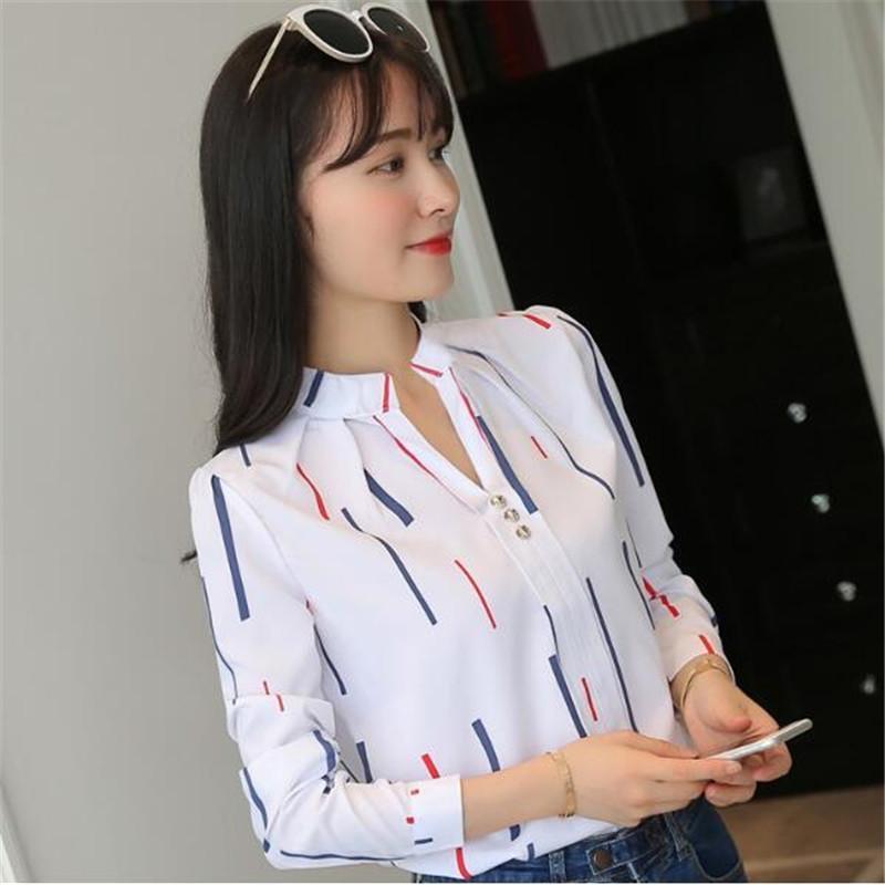 Женщины Блузки Рубашки 2021 Осень С Длинным Рукавом Стенд Воротник Свободная Рубашка Женщины Топ Повседневная Блузка Белый Пуловер Мода Большой Размер 3XL