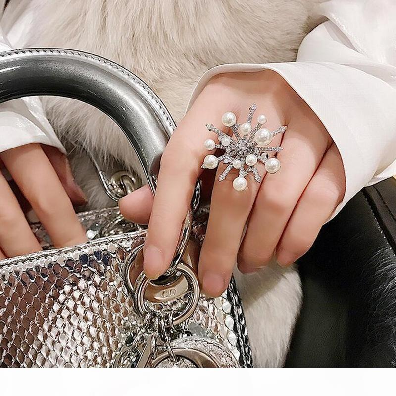 Women Rhinestone Pearl Snowflake Finger Ring Flower Adjustable Open Ring Wedding Bridal Accessories Gift for Love