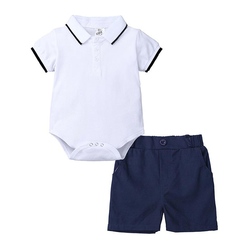 Newborn Baby Boys Summer Clothing Sets Short Sleeve Solid Bodysuits Tops+Elastic Shorts Toddler Cotton Outfits 2pcs