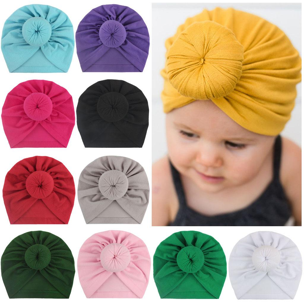 Baby hats caps with knot donut decor kids toddler hair accessories Turban Head Wraps Girls Children Winter Spring Beanie x-18129