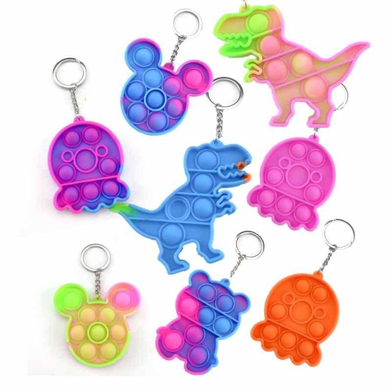 DHL ITフィジットおもちゃ感覚ジュエリーキーチェーンプッシュPooそのバブル漫画シンプルなディンプルのおもちゃキーホルダーストレスリリーバー在庫BJ12