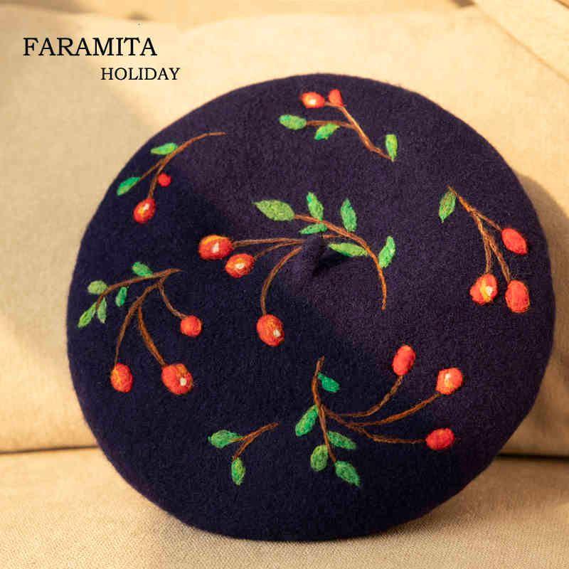 FARAMITA Feiertagshandbuch Beere Bacca Handgemachte Frauen Mädchen Kind Kinder 100% Wollfilz Baretten Hüte Kappen Natrohual Barett