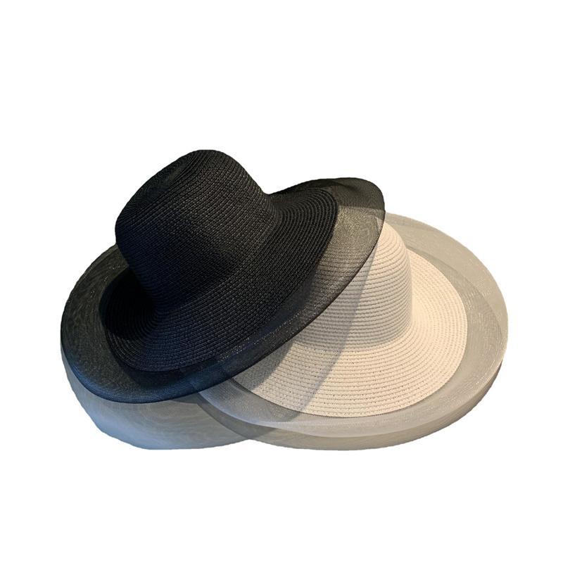 Lady Plaid Bow Beach Hats Ins blanco Paja Paja Tapas transpirables para adultos Sombrero al aire libre Sombrero Flor
