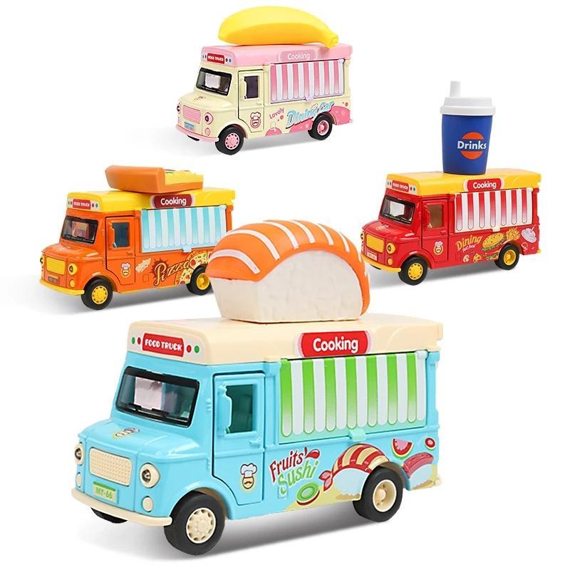 التراجع سيارة الغذاء شاحنة سيارة لعبة مع الموسيقى الخفيفة الآيس كريم برجر حافلة نموذج الأطفال التعليم لعب علبة هدية