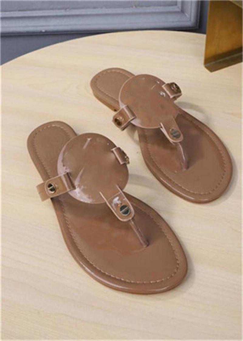 2021 Son Stil Burch Bayanlar Terlik Çift Katmanlı Lüks Tanga Deri Tasarımcı Sandalet Açık Seyahat Moda Tory Flip Flop Boyutu 35-43