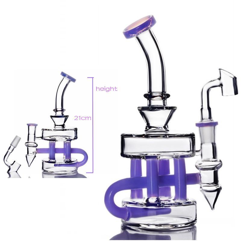 8,2 polegadas Altura Roxo Fab de Vidro de Vidro de Água Bonograma Bubbler Fumadores Fumar Jacaré Dab Rigs Glass Bong 14.4 mm Banger