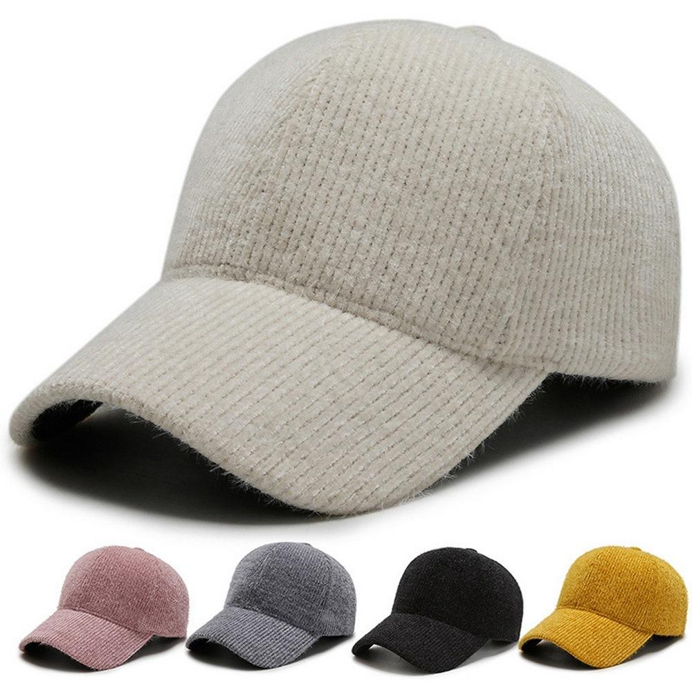 Mulheres beisebol bonés curvados borda corduroy cor sólida tampão ajustável circunferência inverno e outono chapéus moda y0416