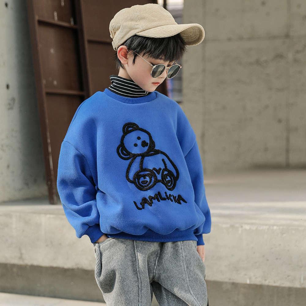 Толстовки для толстовок Фиксимальный стрелковый воротник, плюшевый утолщенный свитер, осенние мальчики и средняя школа, детская зима
