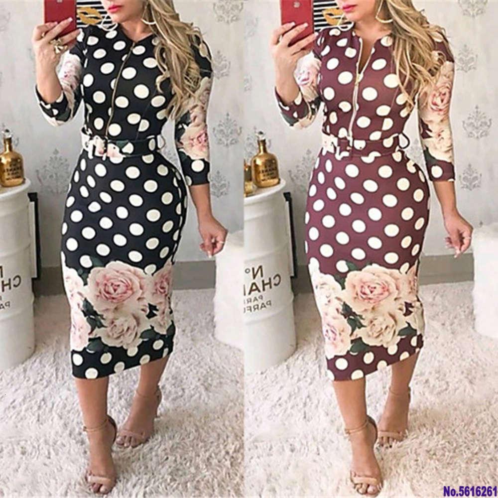 Fashion Women Floral Bodycon Midi Dress Elegant Long Sleeve Flower Print Polka Dot Ladies Dresses