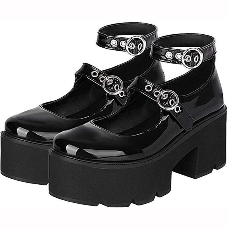 اللباس أحذية كبيرة الحجم ماري جين المرأة منصة لطيف القلب سميكة عالية الكعب لوليتا جولة تو أزياء مكتنزة فاسق امرأة