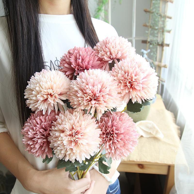 Guirnaldas de flores decorativas 10 unids Diente de león Bola de flores artificiales Bouquets Simulación Wedd Boda Decoración del hogar Party Garden Holding De