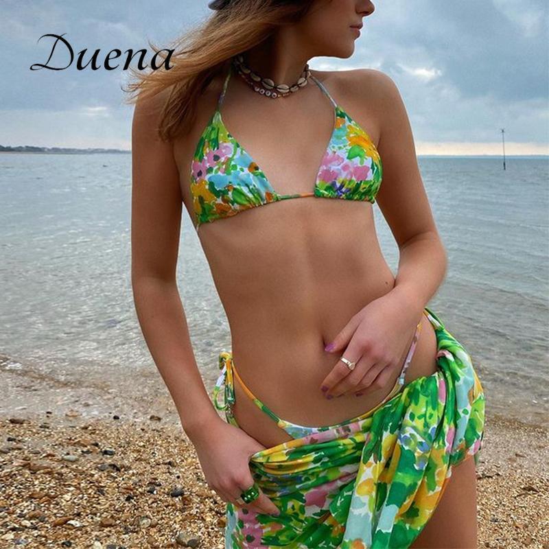 Duena Mulheres Swimwear 2021 Floral Seperate Swimsuit Bikini Top e Saia Sets Sexy 3 Peça Vestido Banheira Terno Verde Mulheres