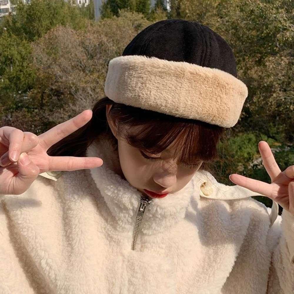 Femmes hiver chaud daim beanie chapeau de bonnet de couleur unie épaissie peluche en peluche bronzé hip hop hip hop hip hop hip hop docker crâne capable de streetwear1