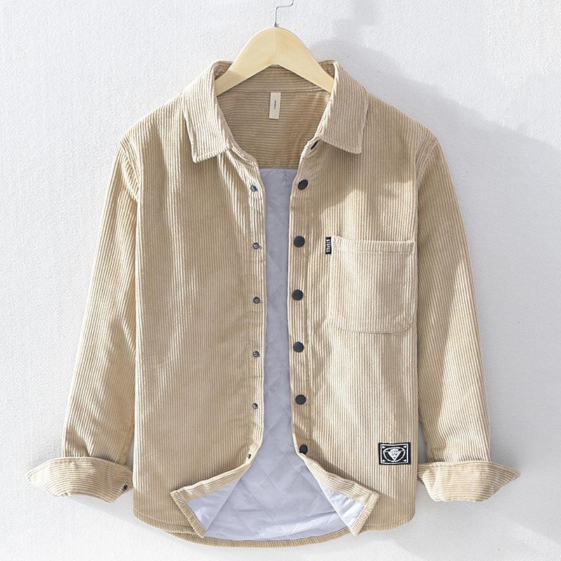 겨울 성격 스타일 코튼 코듀로이 남성 캐주얼 통기성 편안한 슬림 한 맞춤 긴팔 두꺼운 따뜻한 샌딩 샌딩 셔츠 남성 셔츠