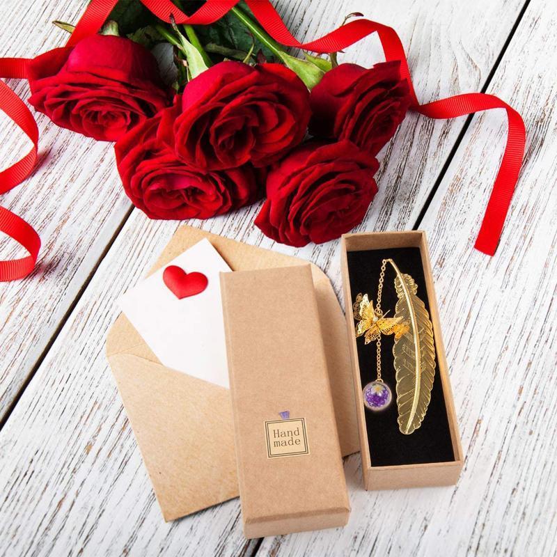 Dekorative Objekte Figuren Vintage Gold Silber Metall Lesezeichen Leaf Vene Feder Schmetterling Exquisite Geschenkbox