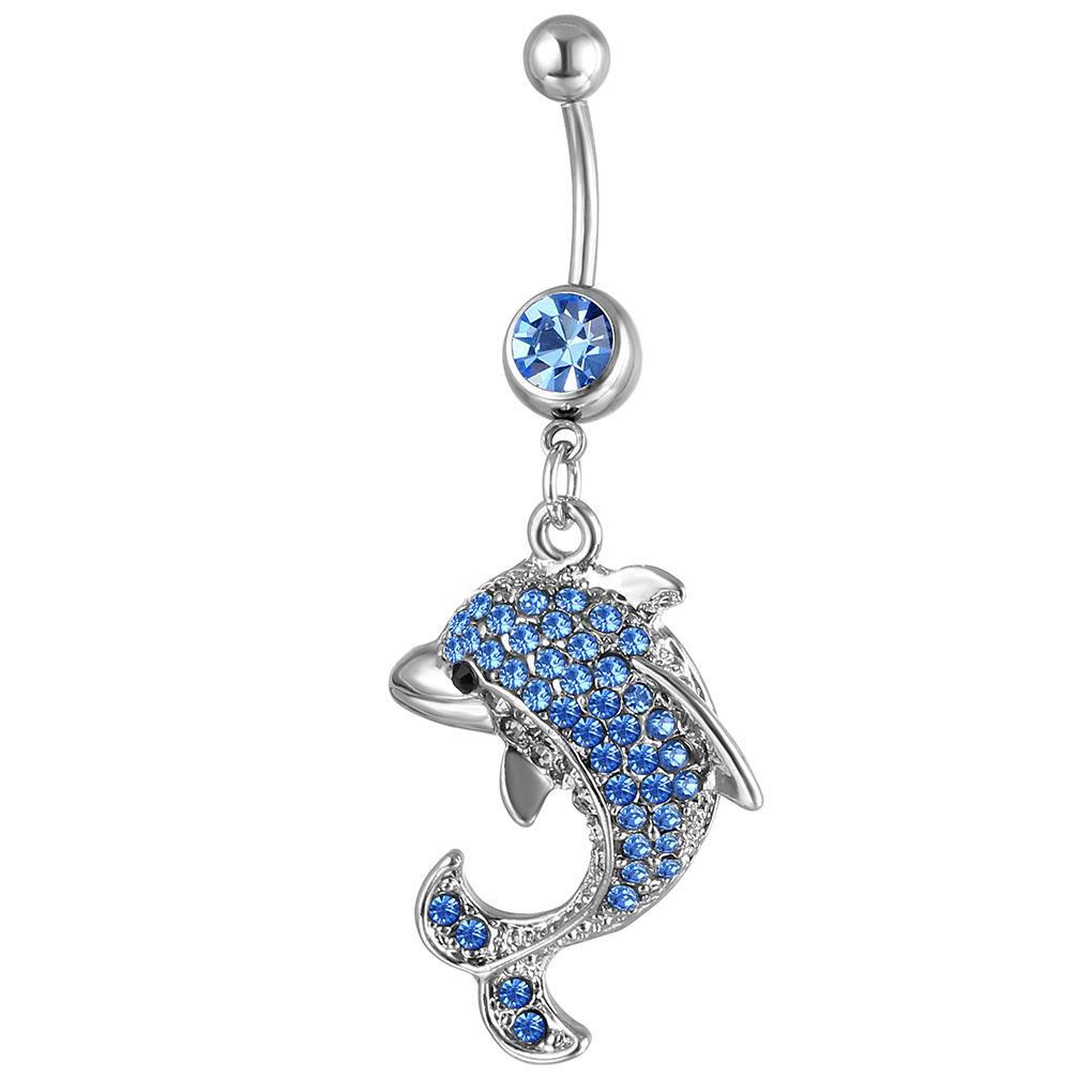 D0042 (3 colori) Bello stile pancia bottone ombelico anelli del corpo piercing gioielli pendenti accessori moda fascino delfino 20pcs / lot