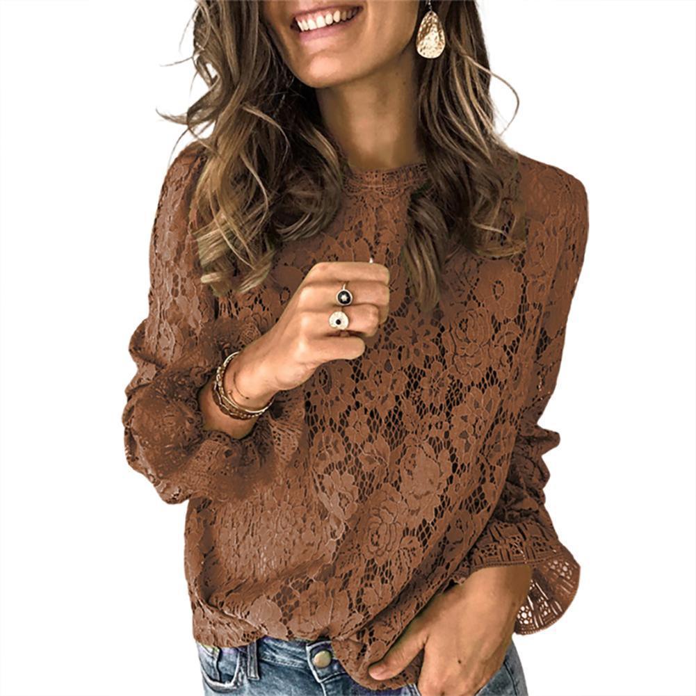 Mujeres atractivas New Fashion Otoño Color Sólido Floteado Manga O Cuello Hollow Out Lace Blusa Camisa Top X0521