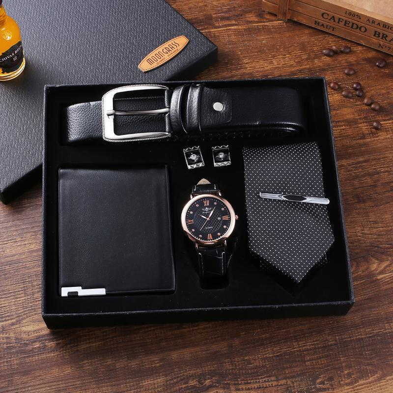 Armbanduhren Luxus Top Marke Herrenuhr Set Hohe Qualität Leder Gürtel Sonnenbrille Parfüm Schmuck Geschenk Sets für Freund Ehemann Vati