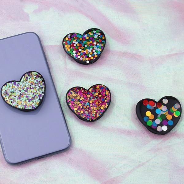 반짝이 심장 전화 홀더 그립 스탠드 유니버설 핸드폰 홀더 자동차 마운트 Allphone for iPhone Samsung