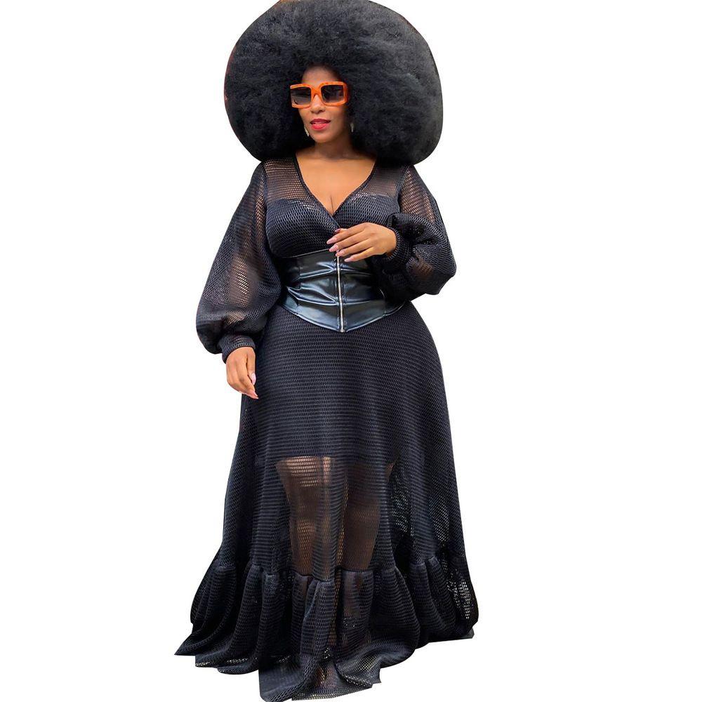 أسود شير شبكة نرى من خلال زائد حجم اللباس المرأة العميق الخامس الرقبة الكامل الأكمام صالح وتضامن أنيقة مثير طويل حزب vestidos 210519