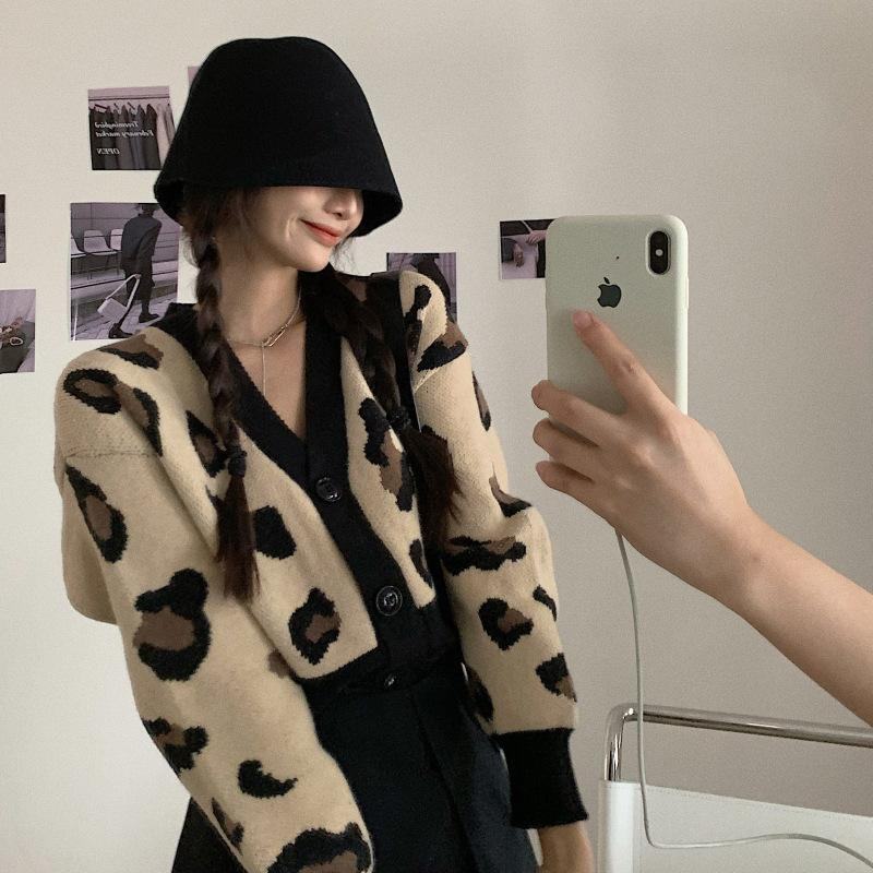 Leopard sweater women's loose Hong Kong 2021 spring lazy short cardigan knitted jacket