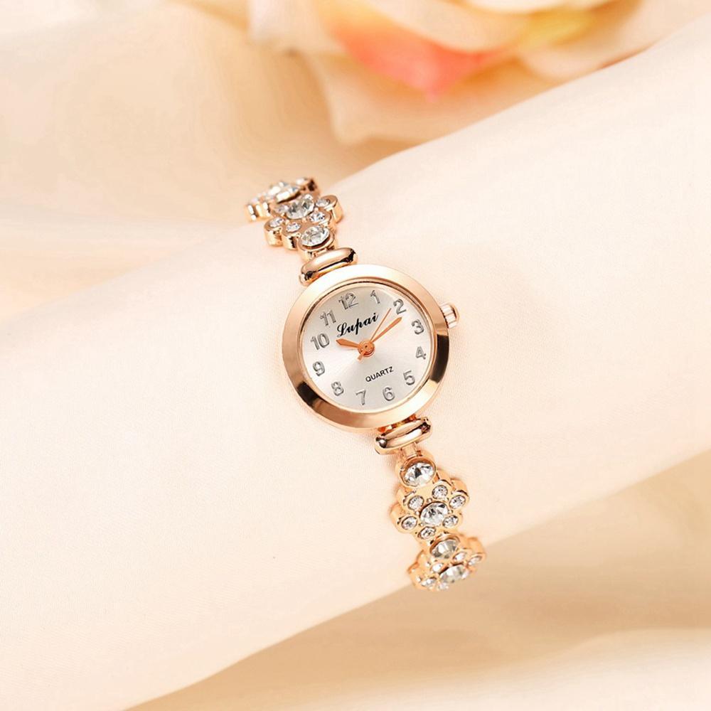 Big Rhinestore Kleine dünne Legierung Armband Uhren für Mode Frauen Damen Weibliche Kleid Quarz Blume Muster Party Armbanduhr Uhr