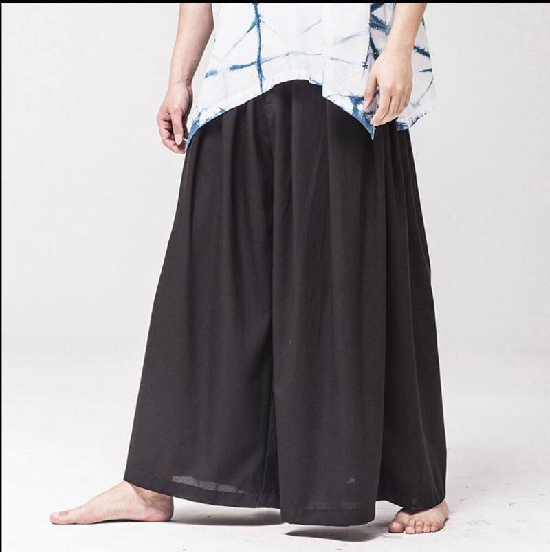 Pantaloni da uomo M-5XL Gambe larghe Pant da uomo Pantaloni Black Pantaloni Allentati Personalità Gonna Casual Casual Skirt Solid Colour Color Novità cinese stile vintage
