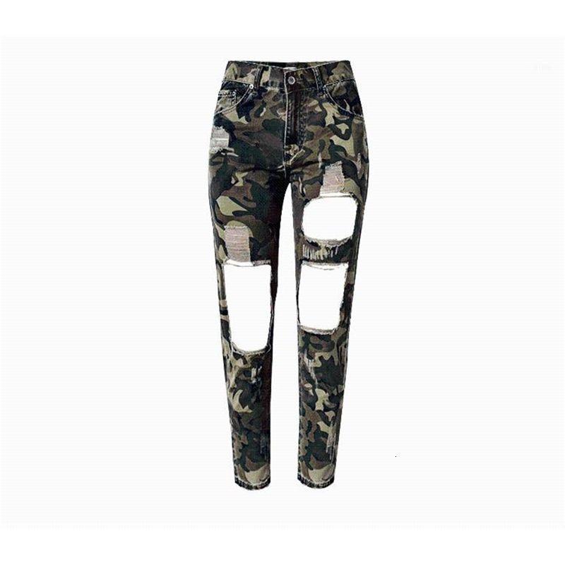 Camouflage Großes Loch zerstört Jeans Frauen plus Größe Hohe Taille Risse Freund Jeans Frau Lose Gerade Knöchel Denim1