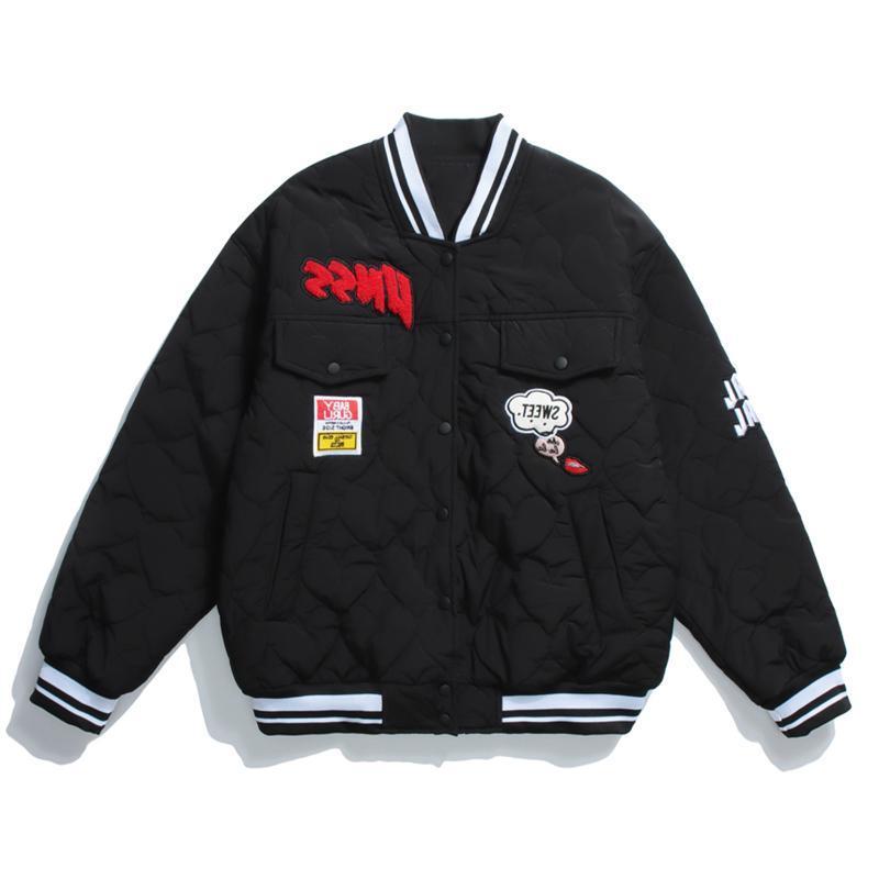 Jaquetas dos homens Mens coração grosso beisebol s streetwear patchwork graffiti casacos inverno harajuku hip hop bomber casaco tops