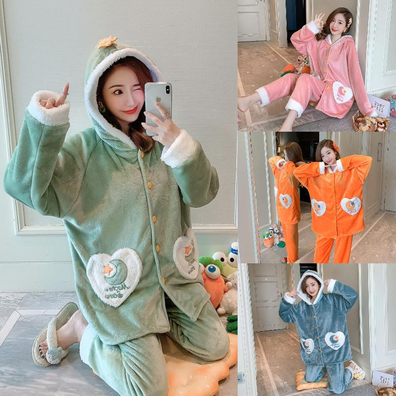 605 # Pijamas Franela femenina engrosada traje de túnica con gorra, ocio encantador, puede ser desgastado para invierno