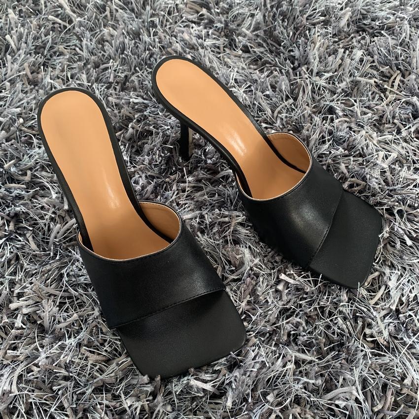 2020 Nouveau été Femmes Sandales Sandales Square Toile Dames Heel Mule Mules Sexy Talons hauts Sandals Sandales Chaussons Femme Fashion Chaussures FH5456JAZSDFG