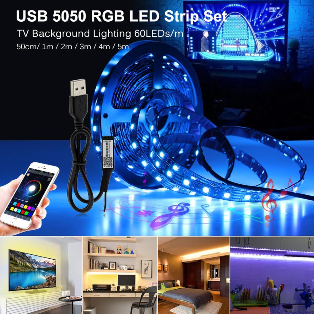 USB LED 스트립 5050 RGB 변경 가능한 LED TV 배경 조명 50cm 1m 2m 3m 4m 5m DIY 유연한 LED 빛.