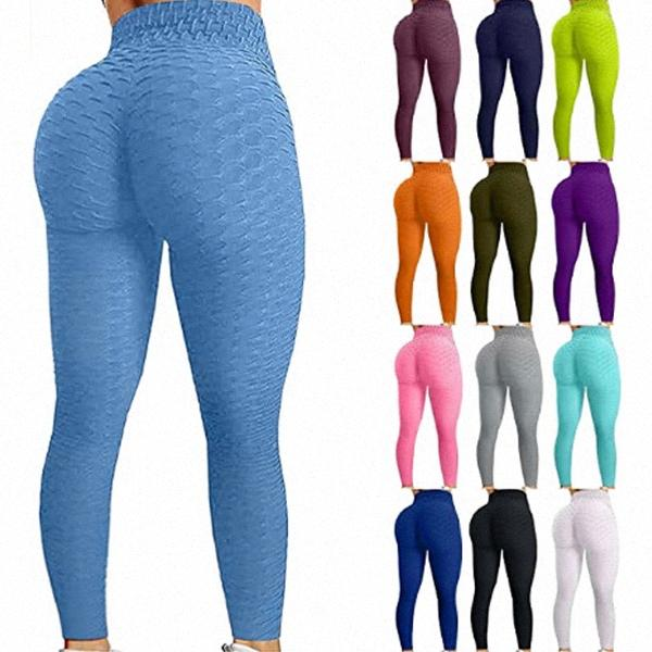 Famoso Tiktok Leggings Calças de Yoga para Mulheres Cintura Alta Barriga Controle Bolha Bolha Bubble Hip Treino Running Running N36R #
