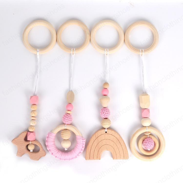 INS DIY baby Soothers & Teethers Rabbit Circle Rainbow Shape And beads Health Care Teething Training Infant Material Wood