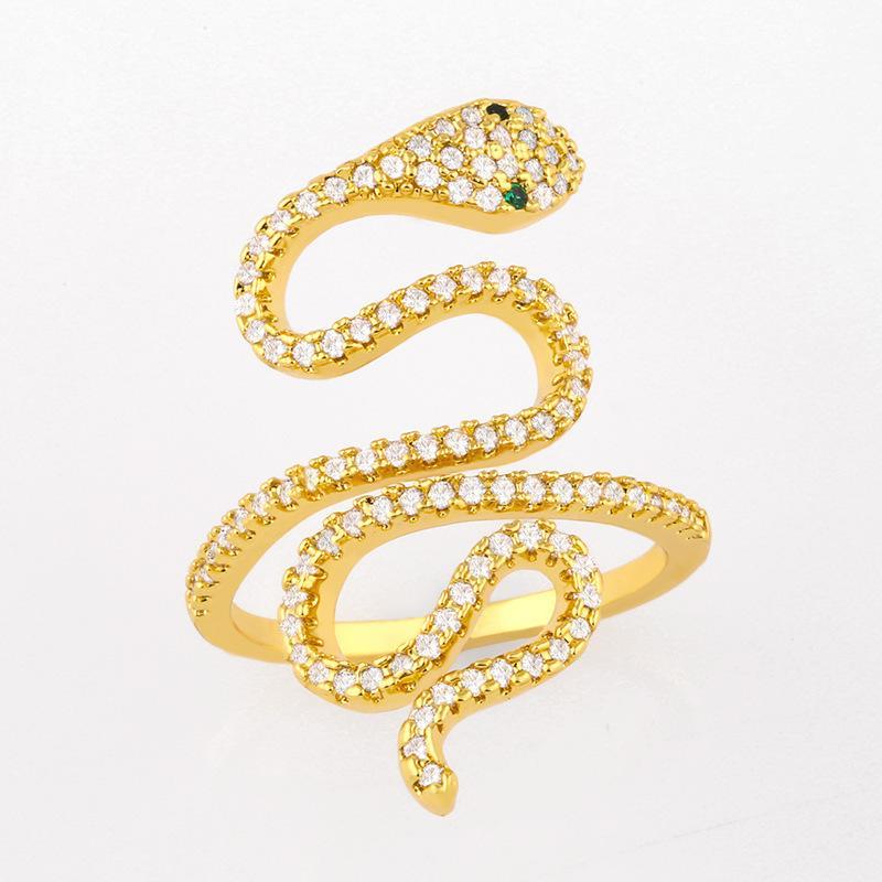 디자이너 나이트 클럽 스타일 패션 인격 상감 된 지르콘 뱀 과장된 다기능 힙합 반지 Rij64