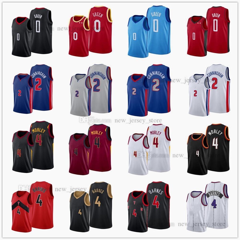 Быстрый отправить напечатанные 2021 черновой выбор баскетбола майки 2 Cade Cunningham 0 Jalen Green 4 Evan Mobley Scottie Barnes Blue белый серый красный черный джерси