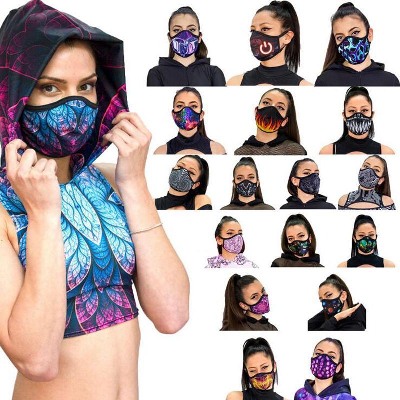 Digital Printing decorativo lavabile in polvere traspirante fashion fashion maschera UV unisex viso maschera 18 colori per scegliere
